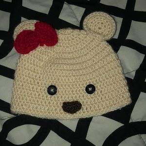 Other - Baby girl with bow bear crochet hat size 0-6 mo